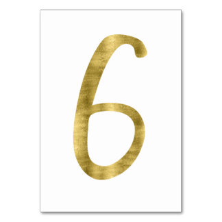 Table Numbers With Gold Foil Effect Number 6