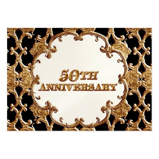 Table Place Card  - Golden French Swirl 50th Anniv Business Card Templates