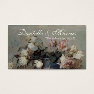 Table Place Card  - Impressionist Cream Pink Roses