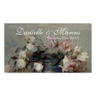 Table Place Card  - Impressionist Cream Pink Roses Pack Of Standard Business Cards