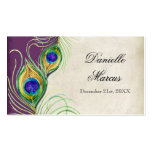 Table Place Card  - Peacock Feathers Purple Plum