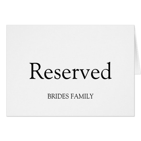 Table Reserved Card