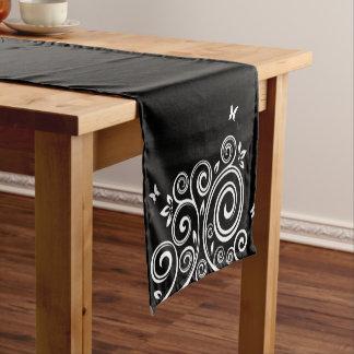 Table Runner-Black Swirl
