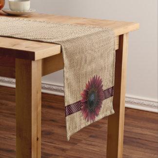 Table Runner - Burlap and Bordeaux Sunflower