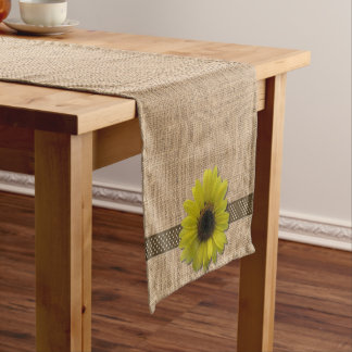 Table Runner - Burlap and Rain-Drenched Sunflower