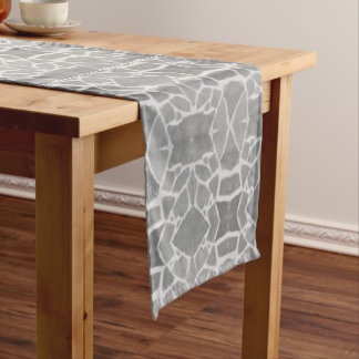 Table Runner Grey White Stone Tiles Mosaic Pattern
