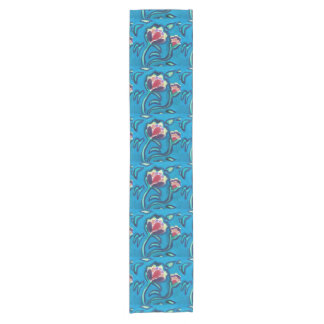 Table runner turquoise, pink flowers