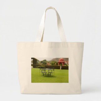 Table set in a lawn bag