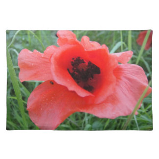 Table set red poppy flower cup placemats