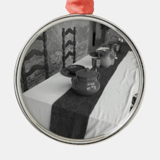 Table settings for a medieval style banquet metal ornament