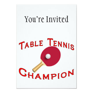Table Tennis Champion 13 Cm X 18 Cm Invitation Card