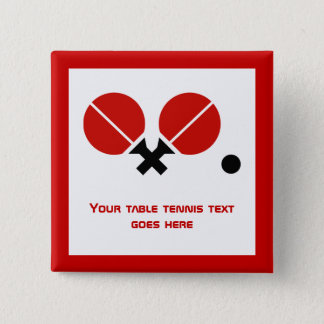 Table tennis ping-pong rackets and ball black, red 15 cm square badge