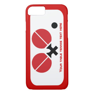 Table tennis ping-pong rackets and ball black, red iPhone 8/7 case