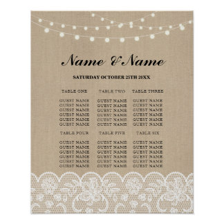 Table Wedding Rustic Lace Burlap Poster Seating