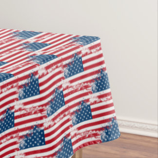 "Tablecloth ""60x84"" July 4th Patriotic USA Flag"