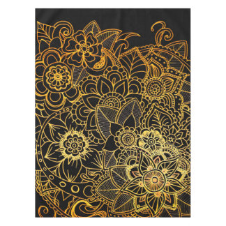 Tablecloth Floral Doodle Gold G523