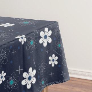 Tablecloth spring Retro blue aqua white flower