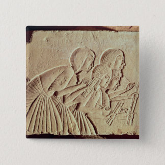 Tablet depicting four scribes at work 15 cm square badge