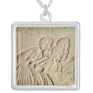 Tablet depicting four scribes at work silver plated necklace
