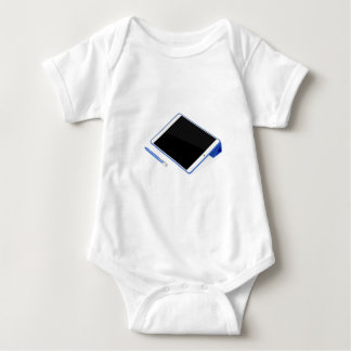 Tablet on stand and digital pen baby bodysuit