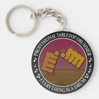 Tabletop drummer basic round button key ring