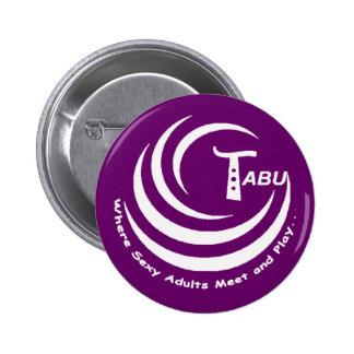 Tabu logo White with name and slogan LARGE Pin