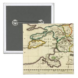 Tabularum geographicarum specimen World Map 15 Cm Square Badge