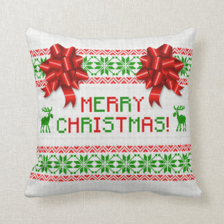 Tacky Ugly Christmas Sweater Red Green Bow Cushion