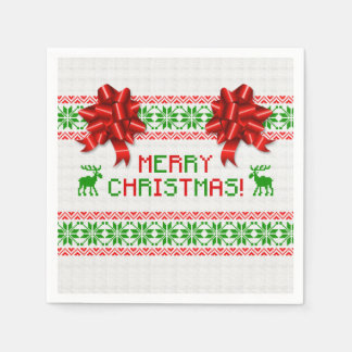 Tacky Ugly Christmas Sweater Red Green Bow Xmas Paper Napkin