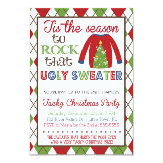 Tacky Ugly Sweater Holiday Party Card