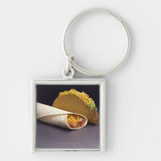 Taco and bean burrito key chains