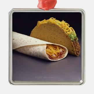 Taco and bean burrito metal ornament