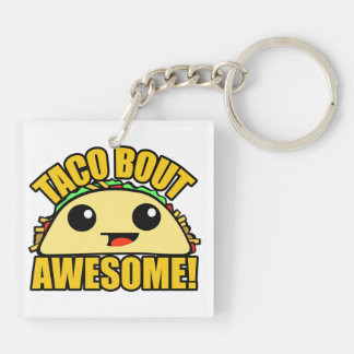 Taco Bout Awesome Double-Sided Square Acrylic Key Ring