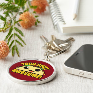 Taco Bout Awesome Silver-Colored Round Key Ring