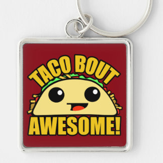 Taco Bout Awesome Silver-Colored Square Key Ring