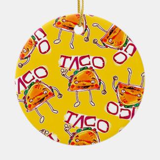taco cartoon style funny illustration ceramic ornament