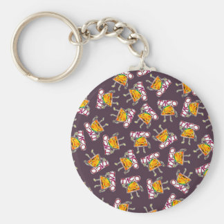 taco cartoon style funny illustration pattern basic round button key ring