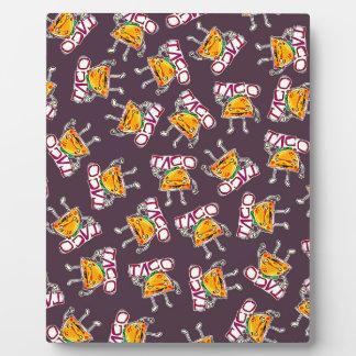 taco cartoon style funny illustration pattern plaque