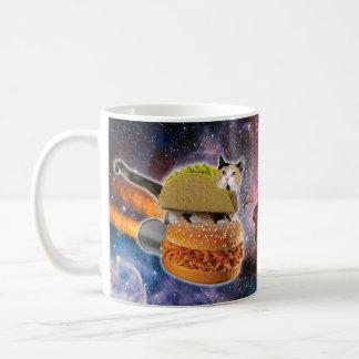 taco catand rockethamburger in the universe basic white mug
