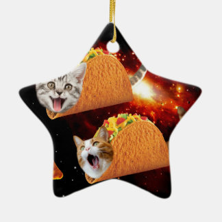 Taco Cats Space Ceramic Ornament