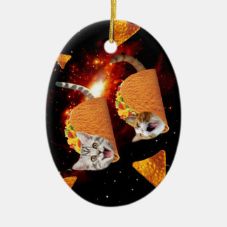 Taco Cats Space Ceramic Oval Decoration