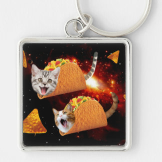 Taco Cats Space Silver-Colored Square Key Ring