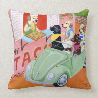 Taco Fun Labradors Painting Throw Pillow