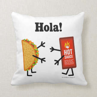 Taco & Hot Sauce - Hola! Throw Pillow