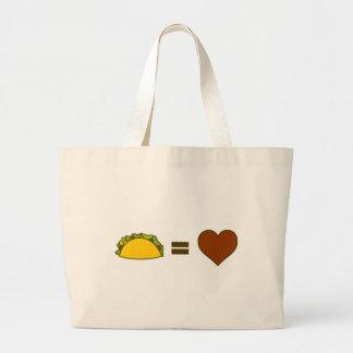 Taco=Love Large Tote Bag