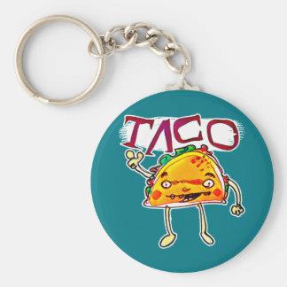 taco man cartoon style funny illustration basic round button key ring