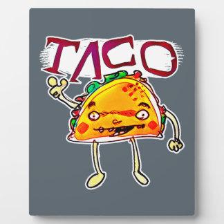 taco man cartoon style funny illustration plaque