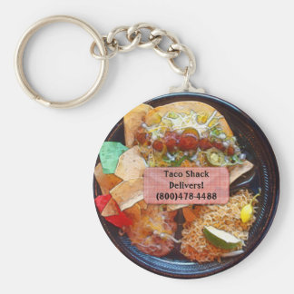 Taco Plate Special  (Comic Style) Basic Round Button Key Ring