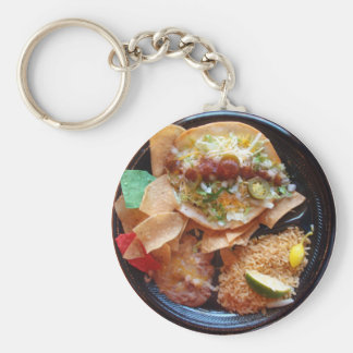 Taco Plate Special Basic Round Button Key Ring