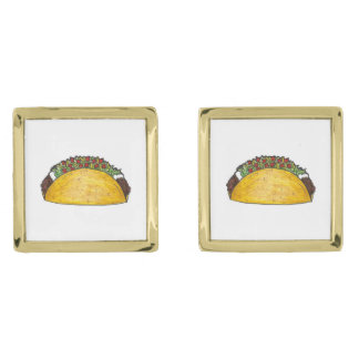 Taco Print Mexican Food Tacos Foodie Cufflinks Gold Finish Cufflinks